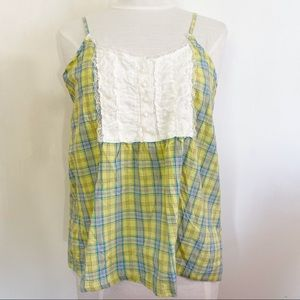 DREAM OUT LOUD plaid and lace babydoll cam…